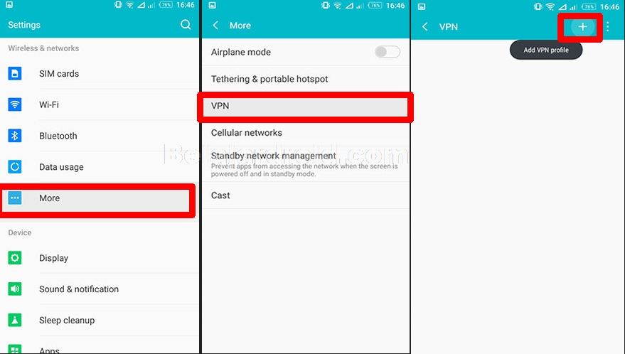 setting vpn android