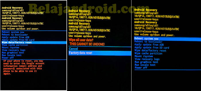Hard Reset Samsung via Recovery